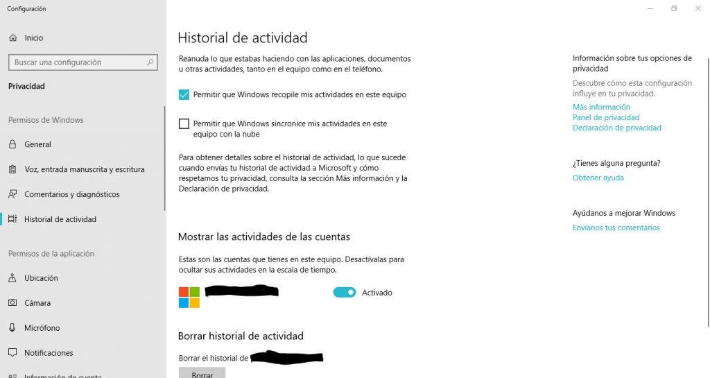 configuracion del historial de actividad en windows 10